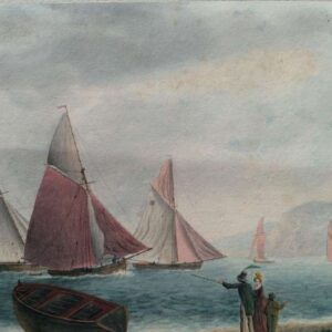 Aquarel getiteld Stone boats from Exmouth door George Tobin