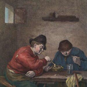 Twee rokende boeren aan een tafel naar Adriaan van Ostade