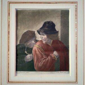 Twee mannen in rustieke kleding naar David Teniers
