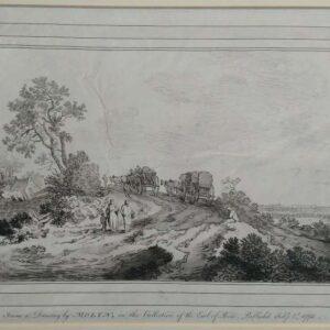landschap met twee wagens op een weg, door William Baillie naar Pieter de Molijn.