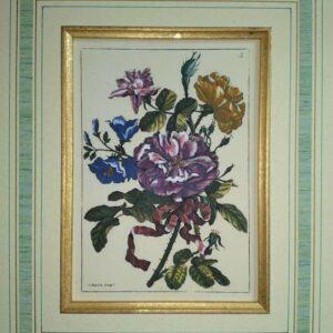 Vier handgekleurde kopergravures van Jean-Baptiste Monnoyer