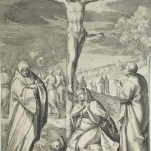 Kruisiging van Jezus, Door Raphael Sadeler naar Adam van Oort/Noort