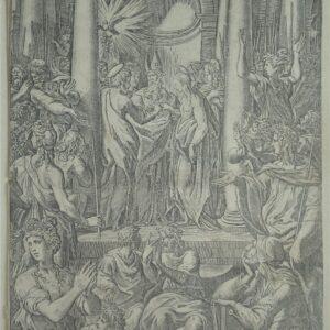 De bruiloft van de Maagd, door Jacopo Caraglio naar Parmigianino