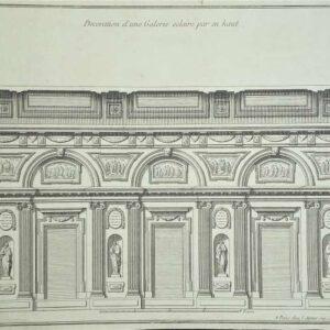 Decoration d'une galerie éncclairé par en haut door Jean-François De Neufforge