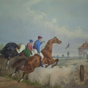 Drie litho's, Un Steeple chase door Edouard Swebach