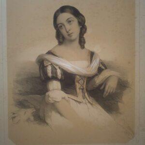 Portret van Esmeralda door Pierre Louis Henri Grévedon