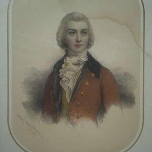Portret van de chevalier de Faublas door Pierre Louis Henri Grévedon