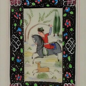 Handgeschilderd miniatuurtje Aziatisch jachttafereel