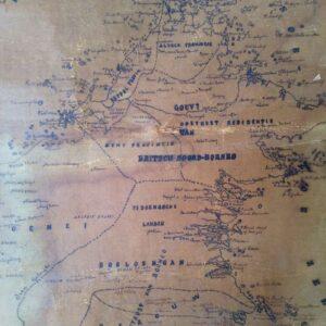 Handgetekende kaart van het eiland Borneo