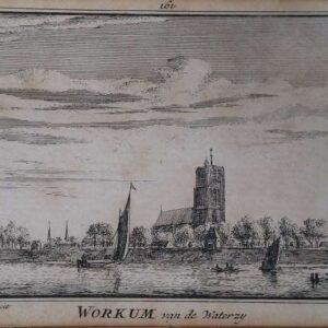 Workum (Woudrichem) van de waterzij, door Abraham Rademakers