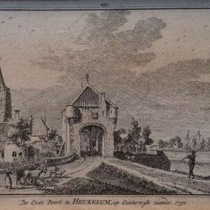De oost poort te Heukelum op Oosterhout ziende, door Hendrik Spilman naar Jan de Beijer