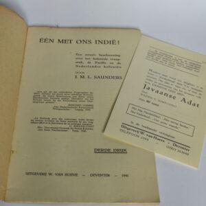 J.M.L. Saunders – Eén met ons Indië. Een actuele beschouwing over het koloniale vraagstuk, de Pacific en de Nederlandse koloniën