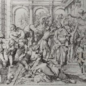 Sint Rochus deelt aalmoezen uit aan de armen naar Annibale Carracci