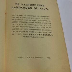 E. Van Delden – De particuliere landerijen op Java