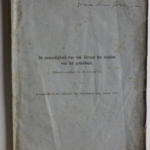 S.C.H. Nederburgh – De onmondigheid van den Javaan ten aanzien van het grondbezit